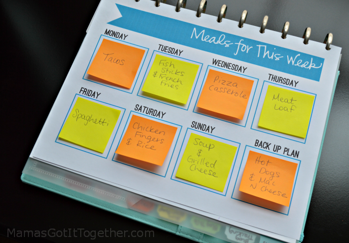 Weekly Calendar Sticky Notes : Free sticky note meal planner printable mama s got it